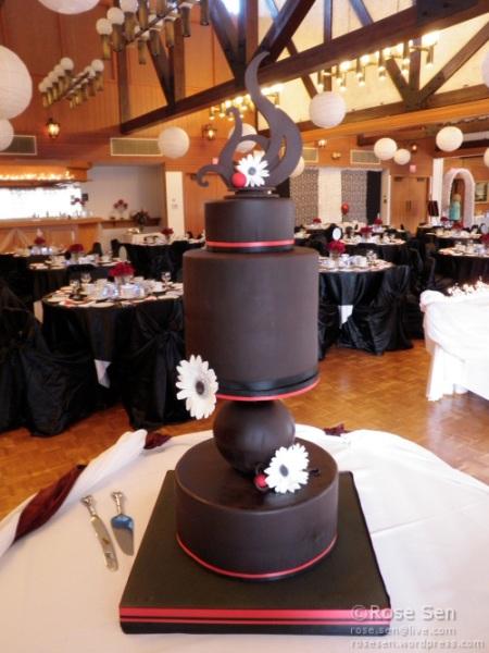 Modern Chocolate Geometric Wedding Cake