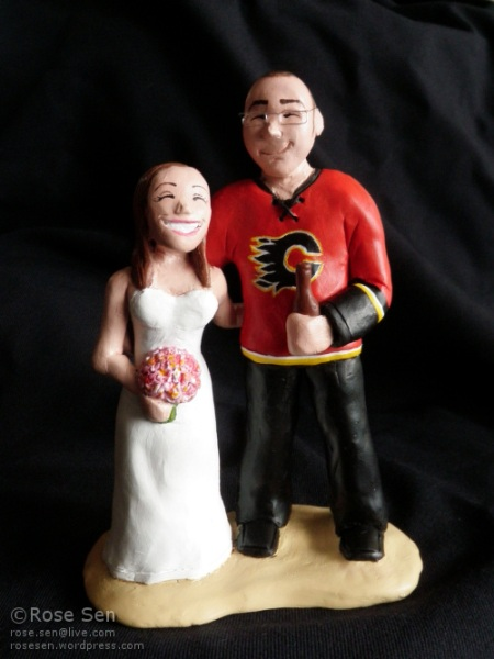Calgary Flames Custom Wedding Cake Topper