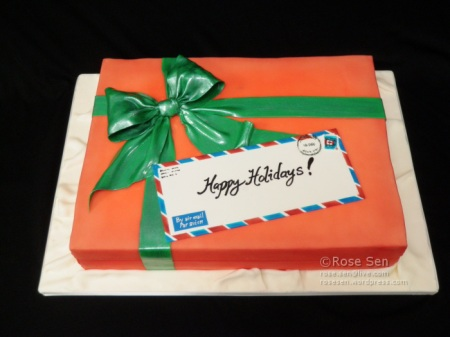 Holiday Christmas Gift Box Cake