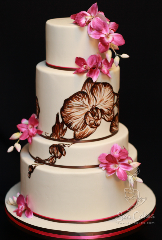 Orchid Wedding Cake Cakestories Ca
