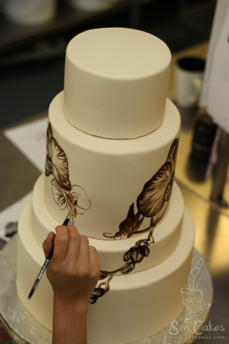 Orchid Painting on Cake