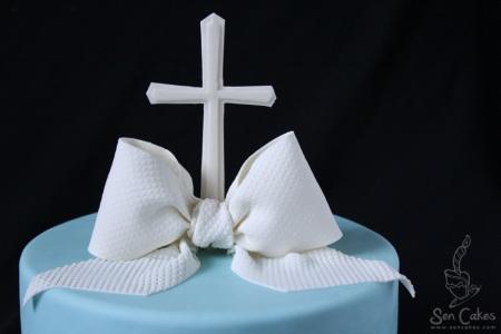 Baptism Bow Cake