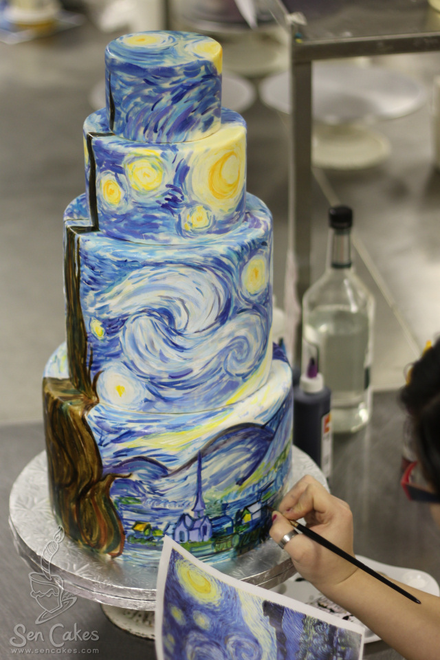 Starry Night Wedding Cake | CakeStories.ca