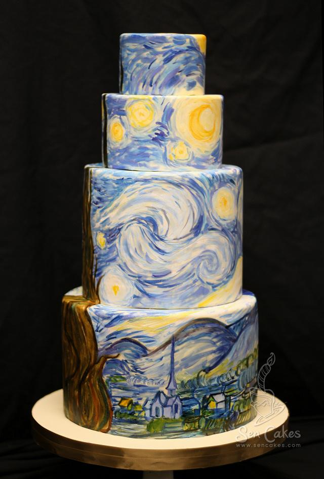 Starry Night Wedding Cake