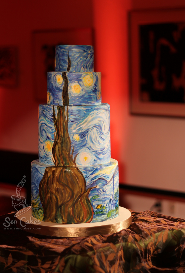 Van Gogh Starry Night Wedding Cake