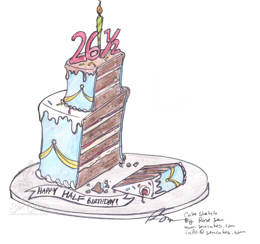 Half birthday cake cakestories half birthday cake cake sketch sciox Image collections