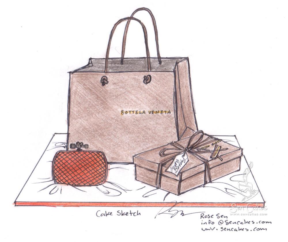 Bottega Veneta Designer Knotted Clutch Purse Cake   CakeStories.ca