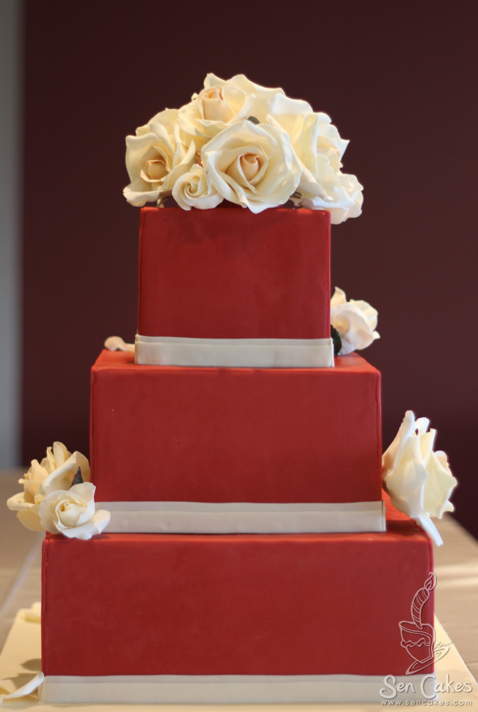 wedding cake red square wedding cake with coloured sugar roses 23659